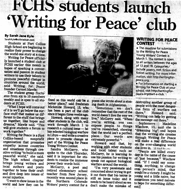 Coloradoan 12-16-11 Writing for Peace article